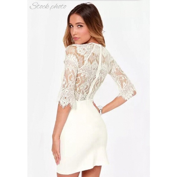 b486a784aa0 White Lace Homecoming Formal Bodycon Sleeves Dress